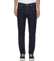 contrast topstitch slim fit jeans