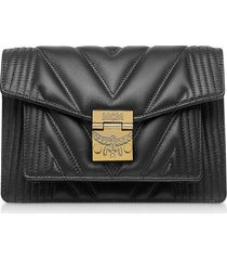 mcm designer handbags, black quilted leather patricia crossbody bag