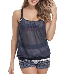 double up mesh panel bohemian printed tankini swimwear