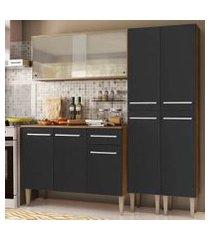 cozinha completa madesa emilly fly com armário vidro miniboreal, balcão e paneleiros - rustic/preto rustic/preto