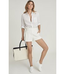 reiss april - pleat front tailored shorts in white, womens, size 12