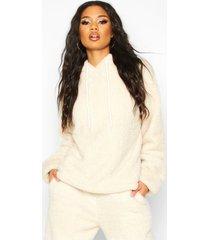 borg oversized hoodie met omslagmanchet, zand