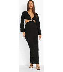 maxi jurk met lange mouwen, laag decolleté en d-ring, black