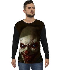 camiseta lucinoze camisetas manga longa creepy clown one preto
