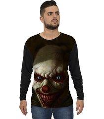 camiseta lucinoze camisetas manga longa creepy clown one preto