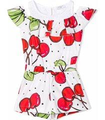 monnalisa white cotton cherry print playsuit