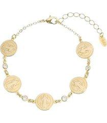 pulseira piuka são bento folheado ouro feminina - feminino