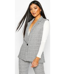 flannel longline sleeveless blazer with button, black
