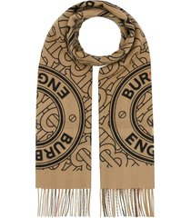 burberry reversible monogram cashmere scarf - brown