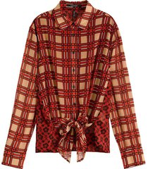 blouse mixed print shirt rood