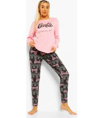 barbie sleigh all day pyjama set met lange mouwen, pink