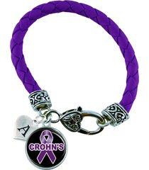 custom crohn's awareness purple ribbon leather bracelet jewelry initial famil...