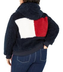 tommy hilfiger plus size colorblocked logo sherpa coat, created for macy's