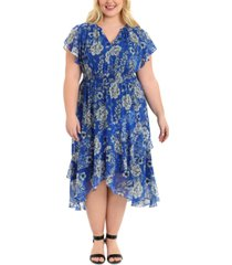 london times plus size flutter-sleeve fit & flare dress