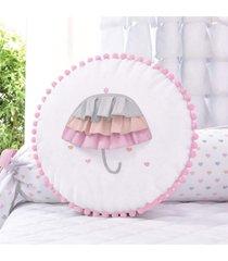 almofada rosa redonda babado guarda-chuva 35cm grão de gente rosa