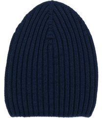 barrie ribbed-knit cashmere beanie - blue