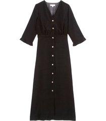 lång velourklänning med kort ärm