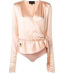 philipp plein satin ruched wrap bodysuit - 01 white