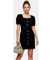 black denim button through puff sleeve dress - washed black