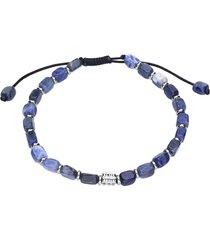 bracciale cordino con pietre blu e acciaio per uomo