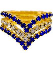 anel horus import azul safira e cristal triplo banhado ouro amarelo 18 k - 1010103