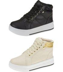 kit 02 pares tênis sneaker botinha joys shoes cadarço preto/areia