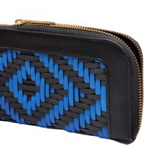 billetera negro por azul tejido a mano