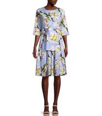 samantha sung women's susane lily-print dress - soft sky blue - size 2