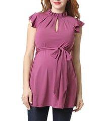 women's kimi and kai matilda flutter sleeve maternity top, size medium - pink