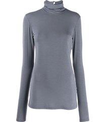 styland roll neck stretch fit sweatshirt - blue