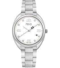 momento fendi stainless steel & diamond bracelet watch