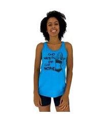 regata feminina alto conceito go hard or go home azul piscina