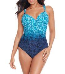 women's miraclesuit royals siren one-piece swimsuit, size 16 - blue