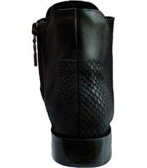 botín anny negro femenino elaborado en cuero napa, folia y charol, altura 1,5 venneto-be yourself