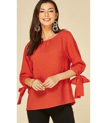 blusa de manga larga con cuello redondo naranja de yoins
