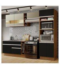 cozinha completa madesa cristal com armário e balcáo (sem tampo e pia) marrom