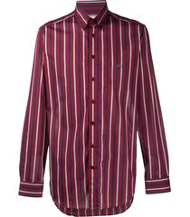 etro vertical stripe logo embroidered shirt