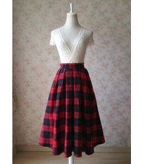 red plaid women midi skirt autumn classic plus size flannel long plaid skirts