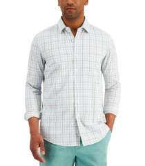 club room men's nylon wicking performance stretch windowpane shirt, created for macy's
