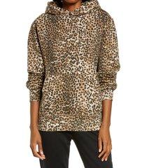 women's ragdoll women's oversize animal print hoodie, size large - brown