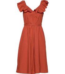 azana poplin ruffle dress jurk knielengte oranje french connection
