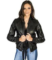 jaqueta couro fake bordada colcci