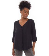 blusa unicolor 3/4 color negro, talla s