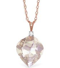 "12.85 ctw 14k solid rose gold fine spiral white topaz diamond necklace 16-24"""