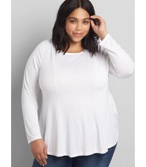 lane bryant women's boatneck back-tie fit & flare top 30/32 white