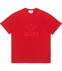 gucci gucci tennis oversized t-shirt - red