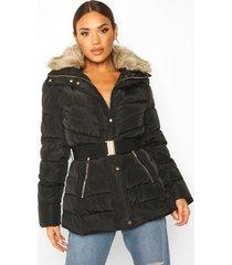 belted faux fur trim puffer jacket, black