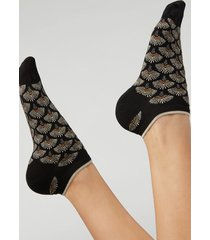 calzedonia patterned glitter no-show socks woman black size tu