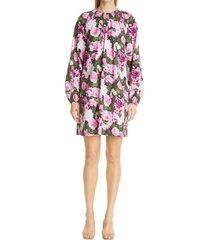 women's lela rose floral print long sleeve dress, size 14 - purple