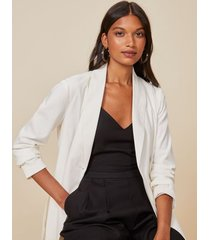 amaro feminino blazer alongado cotton leve, off-white